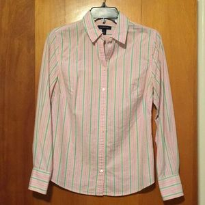 Lands End Pink blue and green striped button down